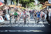 Elia Viviani (ITA/Deceuninck Quick Step) wins the bunch sprint. <br /> <br /> Stage 4: Reims to Nancy (215km)<br /> 106th Tour de France 2019 (2.UWT)<br /> <br /> ©kramon