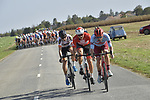 Alex Dowsett (GBR) Team Katusha Alpecin, Adam De Vos (CAN) Rally UHC Cycling and Andreas Nielsen (DEN) Riwal Readynez Cycling Team form the early breakaway during the 113th edition of Paris-Tours 2019, running 217km from Chartres to Tours, France. 13th October 2019.<br /> Picture: ASO/Bruno Bade | Cyclefile<br /> All photos usage must carry mandatory copyright credit (© Cyclefile | ASO/Bruno Bade)