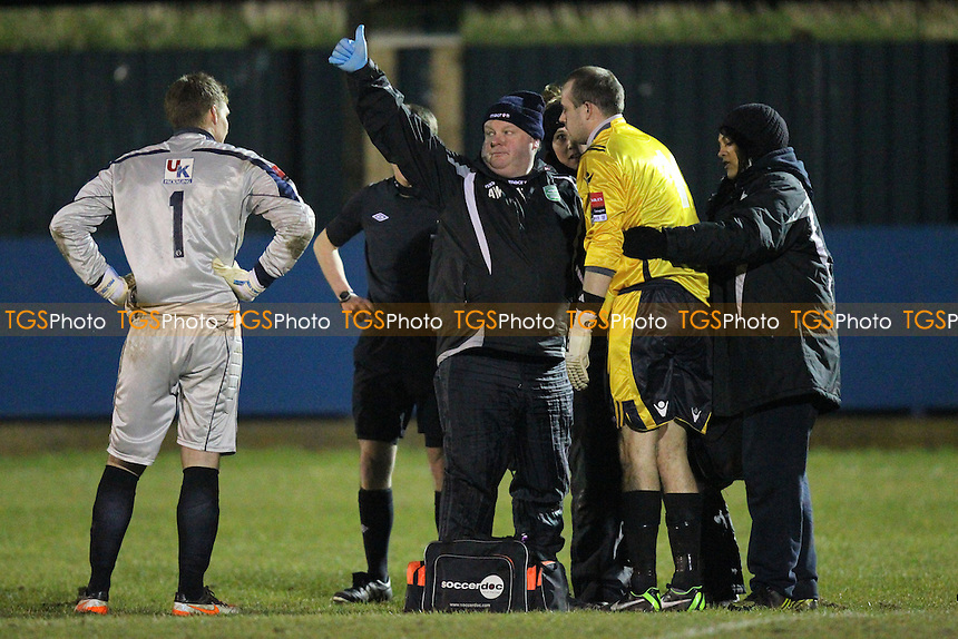 Injury concern for Thamesmead goalkeeper Robert Budd - Redbridge vs Thamesmead Town - Ryman League Division One North Football at Oakside, Barkingside - 26/03/13 - MANDATORY CREDIT: Gavin Ellis/TGSPHOTO - Self billing applies where appropriate - 0845 094 6026 - contact@tgsphoto.co.uk - NO UNPAID USE.