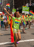TD Bank workers in the 44th annual Lesbian, Gay, Bisexual and Transgender Pride Parade on Fifth Avenue in New York on Sunday, June 30, 2013. The turn out for the parade was especially large with the recent Supreme Court decision overturning the Defense of Marriage Act (DOMA) and California's Proposition 8.  (© Richard B. Levine)