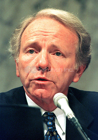 Washington, DC -- United States Senator Joseph I. Lieberman (Democrat of Connecticut) is a member of the U.S. Senate Governmental Affairs Committee investigating alleged abuses in campaign funding in 1996 on July 8, 1997. .Credit: Ron Sachs / CNP/MediaPunch