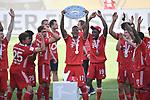 die Bayern mit der Meisterschale, Siegerehrung,<br /> Jerome BOATENG (M) mit der Schale, <br /> Jubel, jubeln, Freude, cheers, <br /> <br /> Sport: Fussball: 1. Bundesliga: Saison 19/20: 34.Spieltag, <br /> VFL WOLFSBURG - FC BAYERN MUENCHEN <br /> am 27.06.2020 in der Volkswagen Arena Wolfsburg, <br /> <br /> Nur fuer journalistische Zwecke! <br /> Only for editorial use!<br /> Gemaess den Vorgaben der DFL Deutsche Fussball Liga ist es untersagt, in dem Stadion und/oder vom Spiel angefertigte Fotoaufnahmen in Form von Sequenzbildern und/oder videoaehnlichen Fotostrecken zu verwerten bzw. verwerten zu lassen. <br /> DFL regulations prohibit any use of photographs as image sequences and/or quasi-video.<br /> National and International News Agencies OUT<br /> NO RESALE!