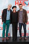 Actors Veronica Forque, Oscar Ladoire (L) and movie director David Serrano pose during `Tenemos que hablar´ film presentation in Madrid, Spain. February 24, 2016. (ALTERPHOTOS/Victor Blanco)