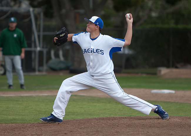Palo Alto High School at Los Altos High School boys varsity baseball, March 27, 2013.  Palo Alto wins 9-1..17 Trevor Rogers - starting pitcher