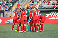 Portland, OR - Saturday August 19, 2017: Thorns Team Huddle during a regular season National Women's Soccer League (NWSL) match between the Portland Thorns FC and the Houston Dash at Providence Park.