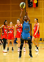 29th December 2019; Bendat Basketball Centre, Perth, Western Australia, Australia; Womens National Basketball League Australia, Perth Lynx versus Canberra Capitals; Olivia Epoupa of the Canberra Capitals takes a free throw - Editorial Use