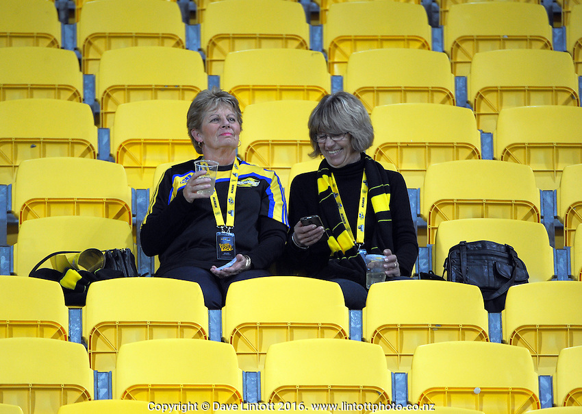 Fans settle in for the Super Rugby match between the Hurricanes and Jaguares at Westpac Stadium, Wellington, New Zealand on Saturday, 9 April 2016. Photo: Dave Lintott / lintottphoto.co.nz