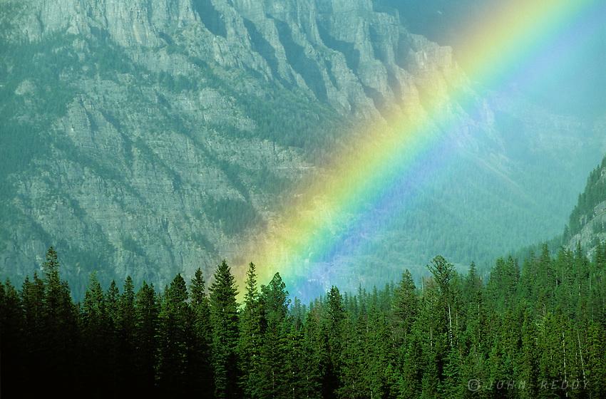 Rainbow on Bowman Lake, Glacier National Park, Montana, USA
