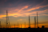 Sailboat masts in silhouette against a blazing sunset at the San Leandro Marina on San Francisco Bay.