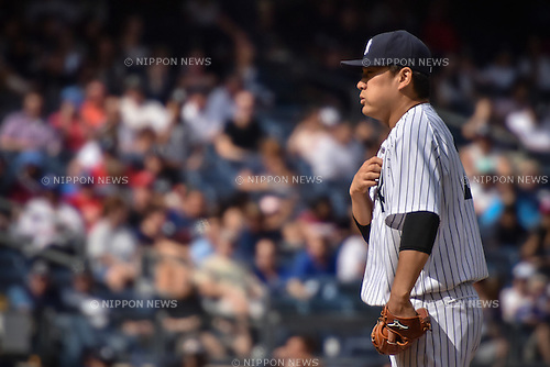 Masahiro Tanaka (Yankees), SEPTEMBER 13, 2015 - MLB : Pitcher Masahiro Tanaka of the New York Yankees stands on the mound in the seventh inning during the Major League Baseball game against the Toronto Blue Jays at Yankee Stadium in the Bronx, New York, United States. (Photo by Hiroaki Yamaguchi/AFLO)