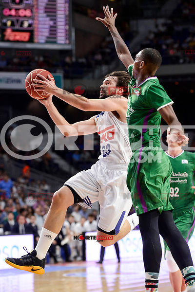 Real Madrid's Sergio Llull during semi finals of playoff Liga Endesa match between Real Madrid and Unicaja Malaga at Wizink Center in Madrid, June 02, 2017. Spain.<br /> (ALTERPHOTOS/BorjaB.Hojas) /NortePhoto.com