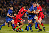 29th September 2017, RDS Arena, Dublin, Ireland; Guinness Pro14 Rugby, Leinster Rugby versus Edinburgh; Rhys Ruddock of Leinster is tackled by Darryl Marfo of Edinburgh and Simon Berghan of Edinburgh