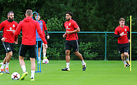 Ashley Williams (C) in action during the Wales Training Session at the Vale Resort, Hensol, Wales, UK. Tuesday 29 August 2017