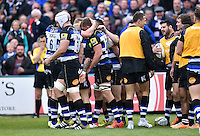 Stuart Hooper of Bath Rugby is congratulated on his try. Aviva Premiership match, between Bath Rugby and Exeter Chiefs on October 17, 2015 at the Recreation Ground in Bath, England. Photo by: Patrick Khachfe / Onside Images