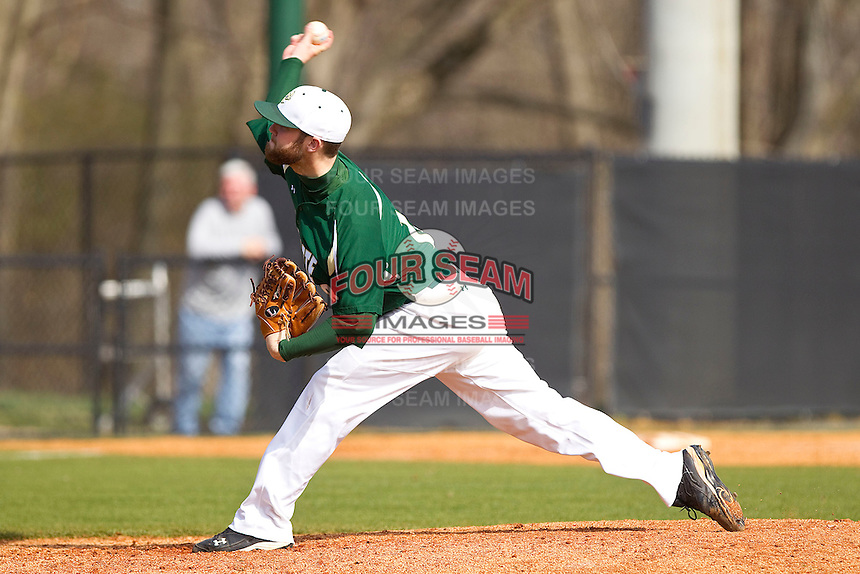 Starting pitcher Tyler Barnette #18 of the Charlotte 49ers delivers a pitch to the plate against the Saint Peter's Peacocks at Robert and Mariam Hayes Stadium on February 18, 2012 in Charlotte, North Carolina.  Brian Westerholt / Four Seam Images