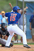 New York Mets left fielder Tim Tebow (15) at bat in front of catcher Pablo Garcia during an Instructional League game against the Miami Marlins on September 29, 2016 at the Port St. Lucie Training Complex in Port St. Lucie, Florida.  (Mike Janes/Four Seam Images)