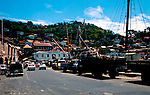 Busy docks in George town, Grenada circa 1975. Caribbean