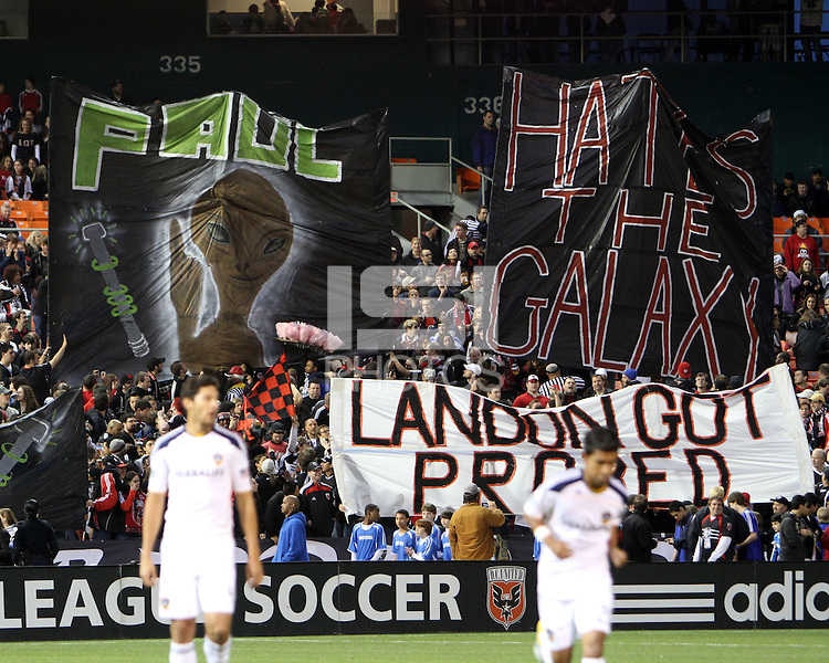 Fans of D.C. United  during an MLS match against the Los Angeles Galaxy at RFK Stadium, on April 9 2011, in Washington D.C. The game ended in a 1-1 tie.