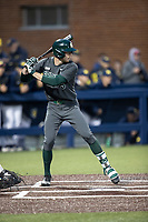 Michigan State Spartans pinch hitter Joe Stewart (5) at bat in the NCAA baseball game against the Michigan Wolverines on May 7, 2019 at Ray Fisher Stadium in Ann Arbor, Michigan. Michigan defeated Michigan State 7-0. (Andrew Woolley/Four Seam Images)