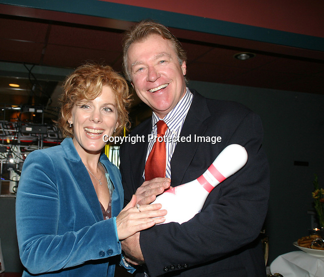 """Guiding Light's Liz Keifer and Jerry verDorn """"Blake and Ross Marler"""" (and OLTL's Clint Buchanan) at the """"Bloss"""" Bowling Event during the Guiding Light weekend on October 15, 2005 at the Port Authority, NY (Photo by Sue Coflin)"""