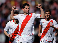 Rayo Vallecano's Jordi Amat celebrates goal  during La Liga  match. February 24,2013.(ALTERPHOTOS/Alconada)
