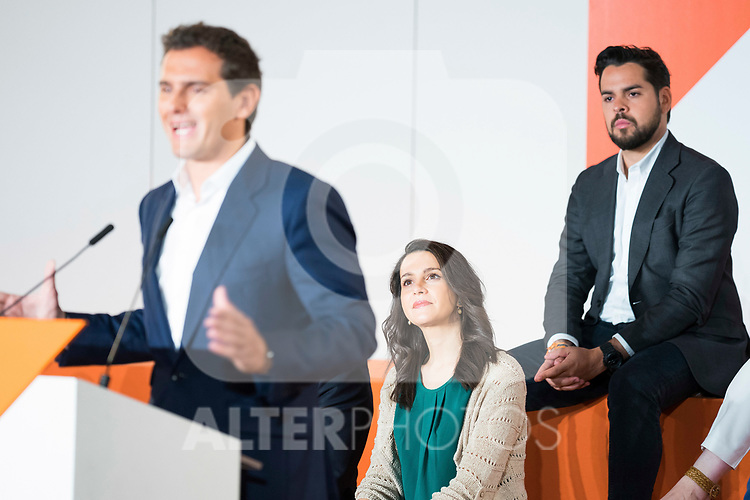 President of Ciudadanos Albert Rivera (l), Ines Arrimadas, and Fernando de Paramo (r)  during General Council. July 29, 2019. (ALTERPHOTOS/Francis González)