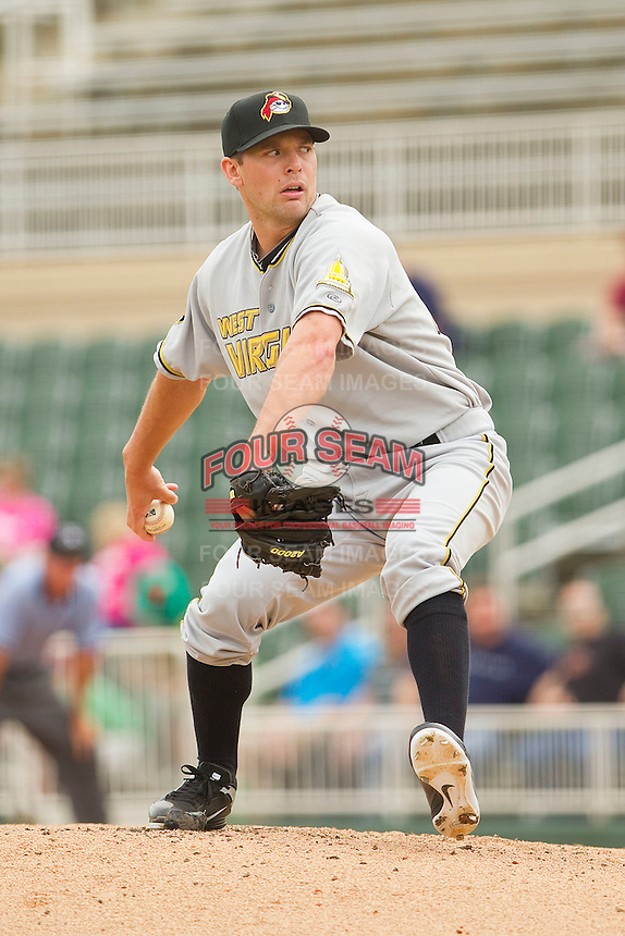 Relief pitcher Kevin Decker #31 of the West Virginia Power in action against the Kannapolis Intimidators at Fieldcrest Cannon Stadium on April 20, 2011 in Kannapolis, North Carolina.   Photo by Brian Westerholt / Four Seam Images