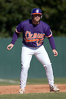 Wilson Boyd (12) of the Clemson Tigers takes his lead off of first base versus the Wake Forest Demon Deacons during the second game of a double header at Gene Hooks Stadium in Winston-Salem, NC, Sunday, March 9, 2008.