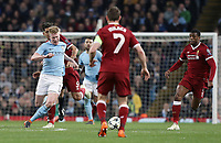 Manchester City's Kevin De Bruyne is fouled by Liverpool's Roberto Firmino who received a yellow card for the challenge<br /> <br /> Photographer Rich Linley/CameraSport<br /> <br /> UEFA Champions League Quarter-Final Second Leg - Manchester City v Liverpool - Tuesday 10th April 2018 - The Etihad - Manchester<br />  <br /> World Copyright &copy; 2017 CameraSport. All rights reserved. 43 Linden Ave. Countesthorpe. Leicester. England. LE8 5PG - Tel: +44 (0) 116 277 4147 - admin@camerasport.com - www.camerasport.com