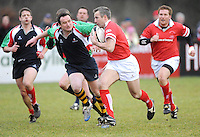 Stan McDowell in action during the charity match between the Ulster 1999 XV and a Wooden Spoon Select XV at Shaw's Bridge Belfast.  Mandatory Credit - Photo : Oliver McVeigh