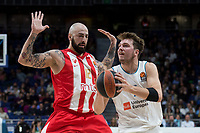Real Madrid Luka Doncic and Crvena Zvezda Pero Antic during Turkish Airlines Euroleague match between Real Madrid and Crvena Zvezda at Wizink Center in Madrid, Spain. December 01, 2017. (ALTERPHOTOS/Borja B.Hojas)