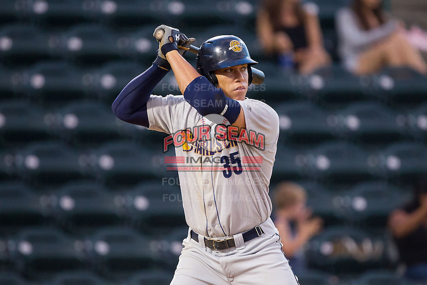 Aaron Judge (35) of the Charleston RiverDogs at bat against the Hickory Crawdads at L.P. Frans Stadium on June 2, 2014 in Hickory, North Carolina.  The Crawdads defeated the RiverDogs 9-6.  (Brian Westerholt/Four Seam Images)
