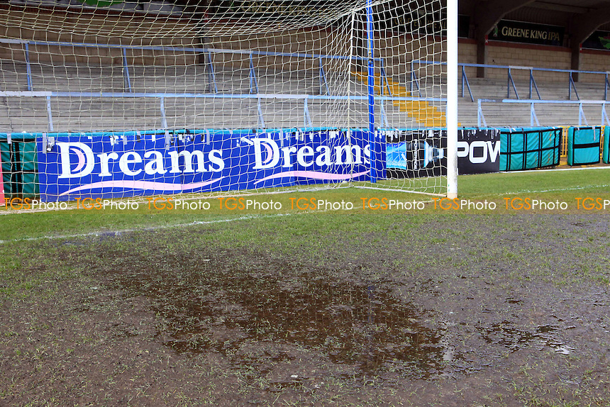 Waterlogged Pitch at WWFC. Match postponed - Wycombe Wanderers vs Northampton Town - NPower League Two Football at Adams Park, High Wycombe - 16/03/13 - MANDATORY CREDIT: Paul Dennis/TGSPHOTO - Self billing applies where appropriate - 0845 094 6026 - contact@tgsphoto.co.uk - NO UNPAID USE.
