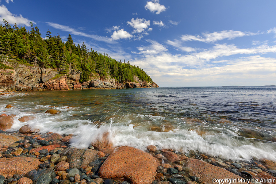Acadia National Park, Maine: Rounded boulders, rocks and surf at Hunters Beach