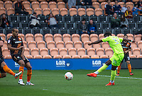GOAL!!! Tariqe Fosu of Colchester United strikes to score the 1st goal during the EFL Sky Bet League 2 match between Barnet and Colchester United at The Hive, London, England on the 17th September 2016. Photo by Liam McAvoy.