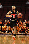 March 6, 2015; Las Vegas, NV, USA; Pacific Tigers guard Dulani Robinson (5) dribbles the basketball against the San Francisco Dons during the first half of the WCC Basketball Championships at Orleans Arena.