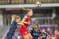Orlando, FL - Saturday October 14, 2017: Stephanie Ochs, Dagný Brynjarsdóttir during the NWSL Championship match between the North Carolina Courage and the Portland Thorns FC at Orlando City Stadium.