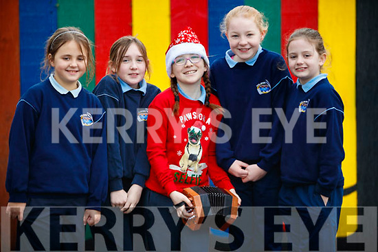 Megan Gillespie a pupil at Scoil Mhuire, Killorglin who is performing on the Late Late toy show pictured with classmates, Ellie Memry, Caitriona McKenna, Nicole McCormack and Niamh O'Sullivan.