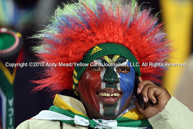 16 JUN 2010:  A South African fan in the stands.  The South Africa National Team played the Uruguay National Team at Loftus Versfeld Stadium in Tshwane/Pretoria, South Africa in a 2010 FIFA World Cup Group A match.