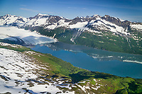 Aerial of Harriman glacier, Harriman Fjord, Prince William Sound, Alaska