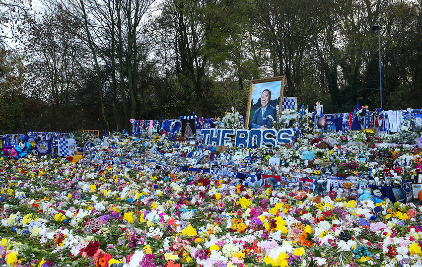 Leicester City' forever in our hearts Vichai Srivaddhanaprabha<br /> <br /> Photographer Rachel Holborn/CameraSport<br /> <br /> The Premier League - Saturday 10th November 2018 - Leicester City v Burnley - King Power Stadium - Leicester<br /> <br /> World Copyright © 2018 CameraSport. All rights reserved. 43 Linden Ave. Countesthorpe. Leicester. England. LE8 5PG - Tel: +44 (0) 116 277 4147 - admin@camerasport.com - www.camerasport.com