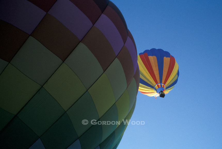 Airborne Hot Air Balloon above one Ready to Launch