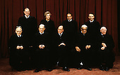 Members of the United States Supreme Court pose for a photo during a photo-op at the U.S. Supreme Court in Washington, D.C. on Tuesday, September 11, 1990.  Front row, from left to right: Associate Justice Harry A. Blackmun; Associate Justice Byron R. White; Chief Justice of the United States William H. Rehnquist; Associate Justice Thurgood Marshall; and Associate Justice John Paul Stevens.  Back row, from left to right: Associate Justice Anthony M. Kennedy; Associate Justice Sandra Day O'Connor; Associate Justice Antonin G. Scalia; and Associate Justice David H. Souter..Credit: Robert Trippett / Pool via CNP