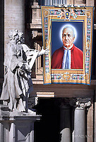 "A tapestry hanged on the facade of St Peter's basilica shows a portrait of Italian Alfonso Maria Fusco during a canonization mass.Pope Francis  leads a canonization mass on October 16, 2016 at St Peter's square in Vatican. Pope Francis canonises Argentine ""gaucho priest"" Jose Gabriel Brochero today along with six others raised to sainthood : Salomon Leclercq, Jose Sanchez del Río, Manuel Gonzalez Garcia, Lodovico Pavoni, Alfonso Maria Fusco and Elizabeth of the Trinity."