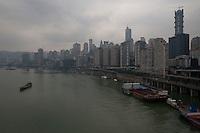 View Of The Chongqing Cityscape Next To The Jialing River From The Huanghuayuan Bridge In Chongqing, China.  © LAN