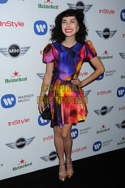 Kimbra (Kimbra Lee Johnson).Warner Music Group 2013 Grammy Celebration held at The Chateau Marmont, West Hollywood, California, USA..February 10th, 2013.full length blue pink yellow red pattern smiling print dress hand on hip black clutch bag.CAP/ADM/BP.©Byron Purvis/AdMedia/Capital Pictures.