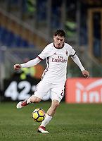 Calcio, Serie A: AS Roma - AC Milan, Roma, stadio Olimpico, 25 febbraio, 2018.<br /> Milan's Davide Calabria in action during the Italian Serie A football match between AS Roma and AC Milan at Rome's Olympic stadium, February 28, 2018.<br /> UPDATE IMAGES PRESS/Isabella Bonotto