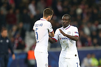 Jorginho and Ngolo Kante of Chelsea celebrate the victory after Lille OSC vs Chelsea, UEFA Champions League Football at Stade Pierre-Mauroy on 2nd October 2019