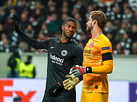 Almamy Touré (Eintracht Frankfurt), Torwart Kevin Trapp (Eintracht Frankfurt) - 20.02.2020: Eintracht Frankfurt vs. RB Salzburg, UEFA Europa League, Hinspiel Round of 32, Commerzbank Arena DISCLAIMER: DFL regulations prohibit any use of photographs as image sequences and/or quasi-video.