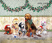 GIORDANO, CHRISTMAS ANIMALS, WEIHNACHTEN TIERE, NAVIDAD ANIMALES, paintings+++++,USGI2529M,#XA# dogs,puppies